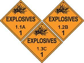 "EXPLOSIVES Placards In addition to the general placarding requirements in section 172.519, these specific provisions apply for ""EXPLOSIVES"" placards. Explosives 1.1, 1.2, 1."