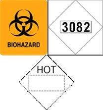 One set of the exceptions to these placarding requirements provided for in the HMR involves the seven groups of materials listed here: 1. Division 6.2 Infectious substances 2.