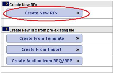 RFx - Use this button to create an RFQ from scratch.