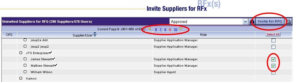 Invite Suppliers, continued The host will invite users within supplier organizations from this screen. Suppliers that have not already been invited will be listed.