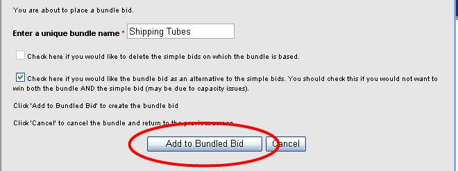 Bundle Bids, continued To create bundle bids: 1. From the View Items page, click on the Place New Bid button to the right of the item on which you wish to bid. 2.