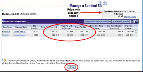 Bundle Bids, continued After closing the confirmation page, the Manage a Bundled Bid page will now show the new discounted prices for the Price Per Unit, One Time Charge fields and