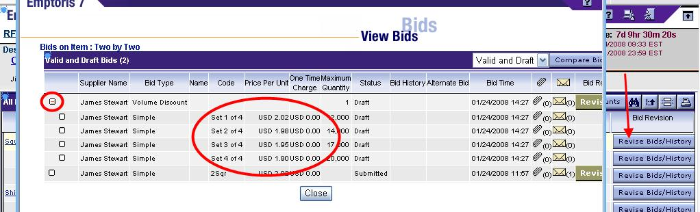 Volume Discount Bids, continued Click the Revise Bids/History button to view the Volume discount Bids on the View Bids page. Note that Volume Discounts appear with the same (+) icon as Sets.
