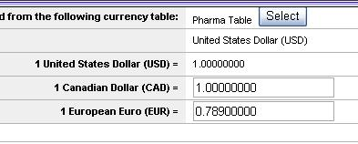 To set exchange rates: 1. Click the Select button to choose the exchange rate table that lists each currency.