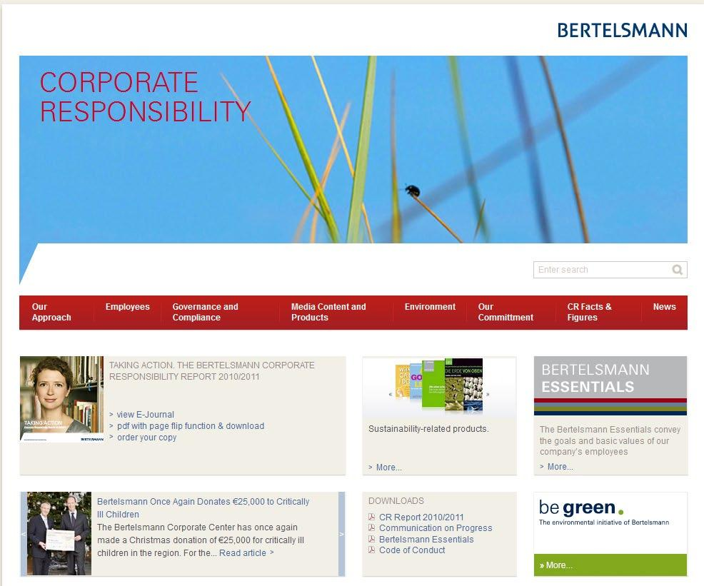 Bertelsmann Corporate Responsibility-Portal For more detailed information about Corporate Responsibility at
