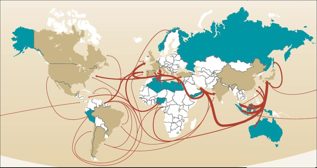 LNG maritime routes and trade IMPORTING COUNTRIES EXPORTING COUNTRIES