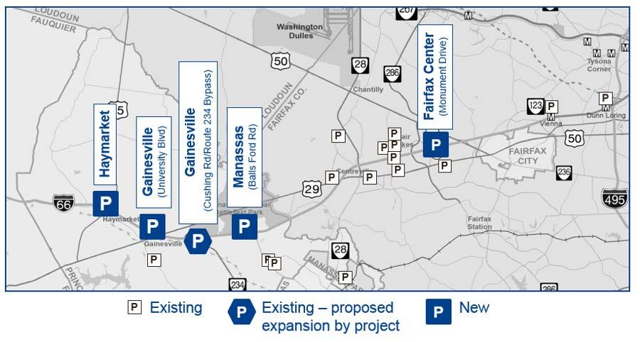 Park-and-Ride Facilities Phase 1 (2021): Approximately 4,000 new spaces in 4 new/expanded facilities Preferred Alternative (by 2040): Approximately 6,500 total spaces in 5 new/