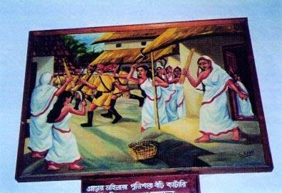 Women Fight Police during the Tebhaga Movement when the slogan was Jan