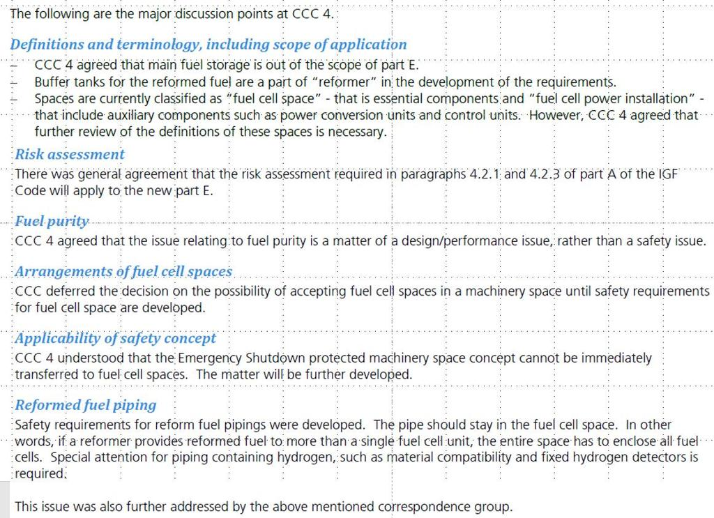 Discussions points on draft version of new part E Lloyd s Register Summary Report of IMO Carriage of Cargoes