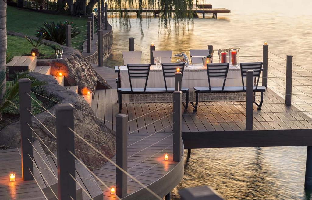 ARCHED BOARDS TIGER COVE SPANISH SAFFRON Infinity TM Arched, co-extruded composite decking SAPPHIRE SILVER KONA SUNSET The arched