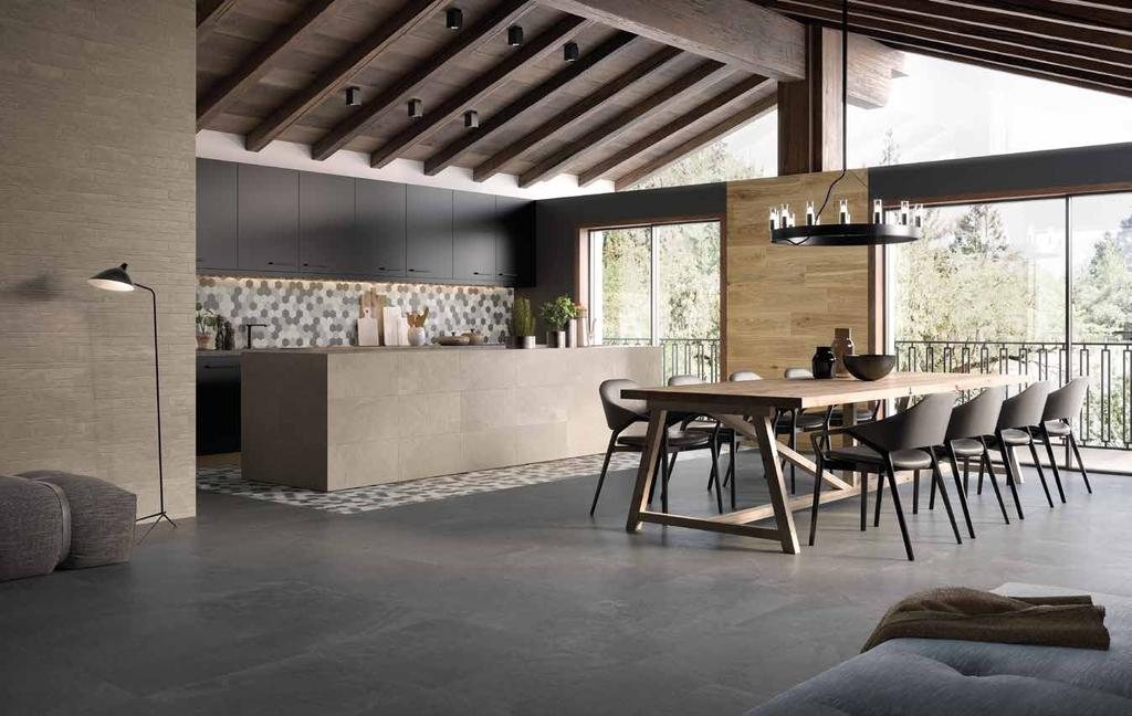 IMPECCABLE PERFORMANCE Trek combines the practicality, hygiene, durability and ease of cleaning of porcelain stoneware with aesthetic elegance and excellence, for rooms with floors and walls with