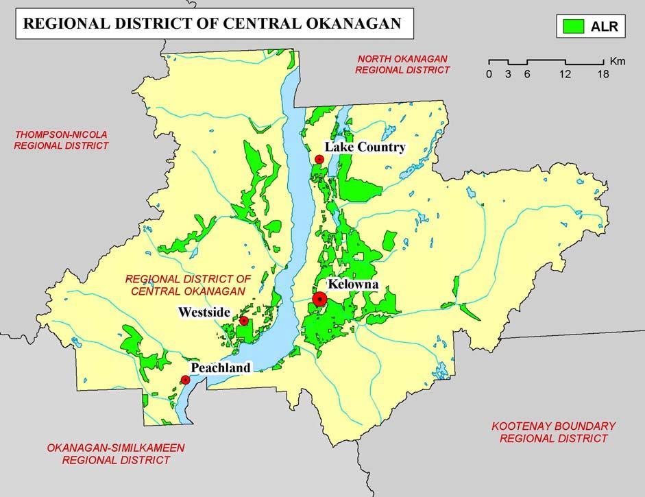 4 Agricultural Land Reserve = 27,305 hectares 4 Graph 2 - Jurisdictional Area & ALR - The ALR in the Regional District of Central Okanagan was designated on July 24, 1974 and today accounts for