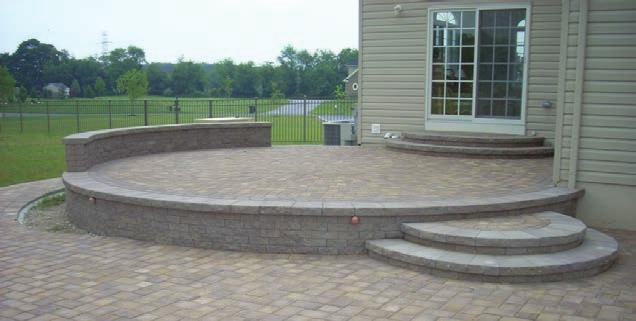 LANDSCAPE RETAINING with SITTING WALL Paving Stone Drain Impermeable Fabric Pervious Fabric Drain Surface Water