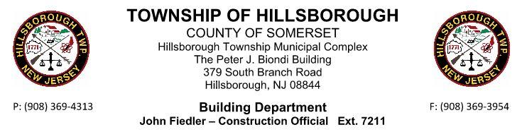 HILLSBOROUGH TOWNSHIP CODE ENFORCEMENT SAMPLE GUIDE FOR RESIDENTIAL DECKS revised 7 16 Call before you dig! 1 800 272 1000 New Jersey One Call. Utility Mark Out.