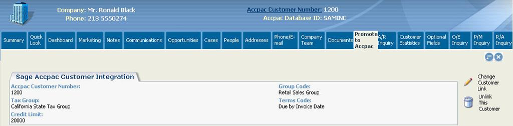 Customers/Vendors, the Promote To Accpac tab shows the Sage ERP Accpac Customer/Vendor Integration screen: The Change Customer/Vendor Link button allows you to