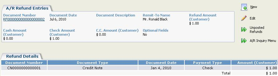 displayed customer.  To view the details of a document, select the Document Number hyperlink. Drill Down.