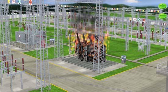any equipment, finally receive the correct responses that the equipment made against the instructions. Figure 7 shows the 3D simulation of transformer A after the accident occurs. Fig. 7 3D Simulation of Transformer after Accident 4.