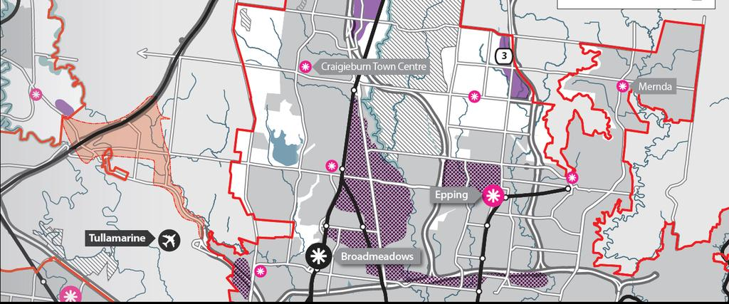 The principal components of the proposed provision for future industrial development are: o an extension of the existing Craigieburn industrial corridor north along the Hume Freeway to the junction