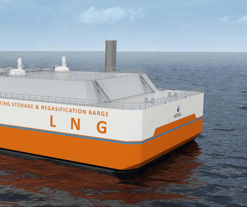 A flexible concept that overcomes infrastructure limitations The Wärtsilä FSRB is an economically viable, fast delivery solution for providing LNG storage and regasification facilities to areas where