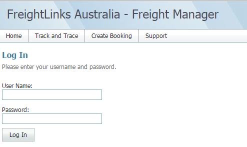 Freight Manager Login Screen After logging into Freight Manager,