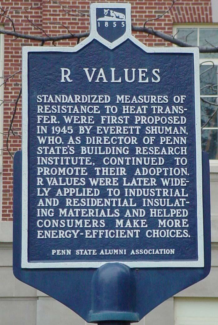 R-Value Proposed in 1945 by Everett Schuman, Penn State s Housing Research Institute