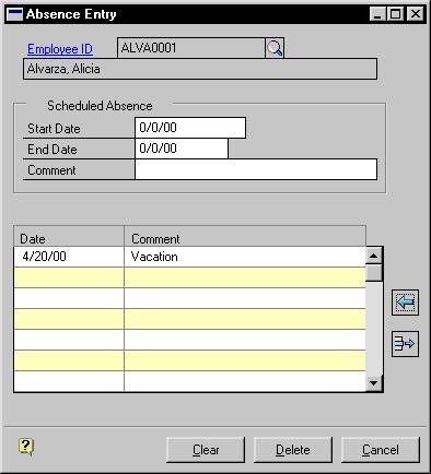 PART 3 EMPLOYEE ATTENDANCE This procedure assumes Enable Direct Link to Vacation Calendar in the Attendance Setup window is not marked.