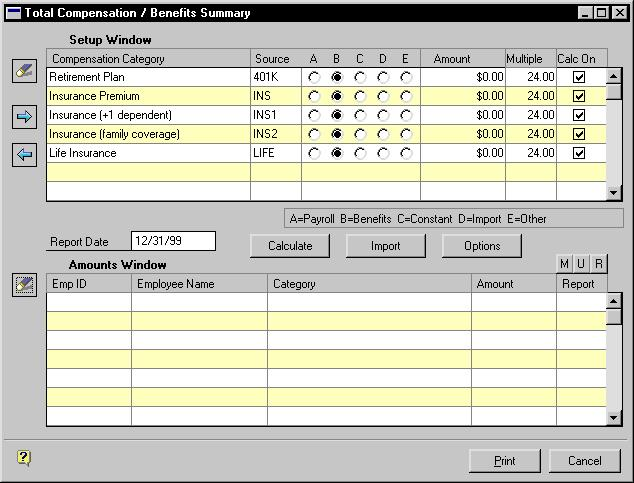 CHAPTER 21 TOTAL COMPENSATION Importing information into the Total Compensation / Benefits Summary window Use the Total Compensation / Benefits Summary window to import information to use in a total