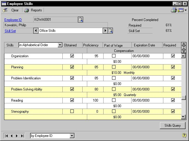 PART 5 EMPLOYEE ASSETS To assign skills to an employee record: 1. Open the Employee Skills window. (Cards >> Human Resources>> Employee >> Skills) 2. Enter or select an employee ID. 3.