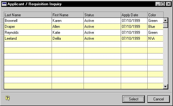 PART 1 APPLICANTS 3. Choose the Applicants Applied field to open the Applicant / Requisition Inquiry window. 4. Close the window when you re finished.