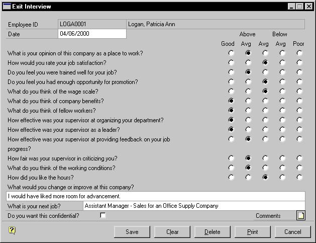 CHAPTER 32 EMPLOYEE TERMINATION To add an exit interview record: 1. Open the Termination Checklist window. (Cards >> Human Resources >> Employee >> Termination) 2. Enter or select an employee ID. 3. Select the termination name and chose Exit Interview to open the Exit Interview window.
