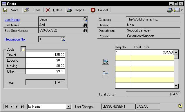 CHAPTER 1 REQUISITIONS AND APPLICANT COSTS To add applicant cost information: 1. Open the Costs window. (Cards >> Human Resources >> Applicant >> Costs) 2.
