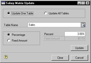 PART 9 ORGANIZATION EXPLORER AND SALARY MATRIX 2. Choose Update. The Salary Matrix Update window will open. 3. Mark Update One Table or Update All Tables. 4.