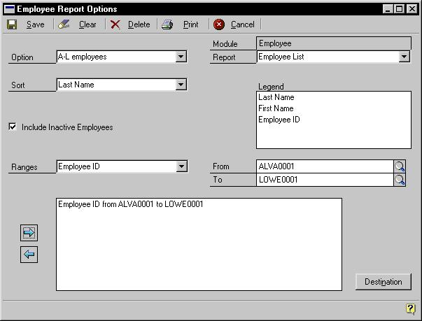 PART 10 INQUIRIES AND REPORTS Creating a report option Report options include specifications for sorting options and range restrictions for a particular report.