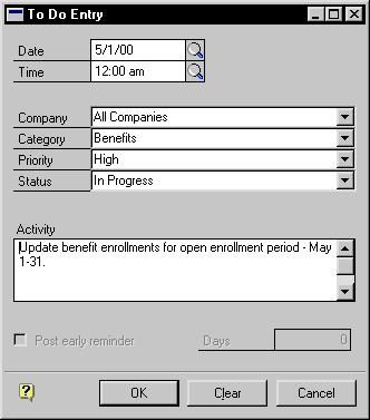 PART 11 UTILITIES 2. Choose Add New Entry to open the To Do Entry window. 3. Enter or select a date and a time for the entry. 4. Select a company and category for the entry. 5.