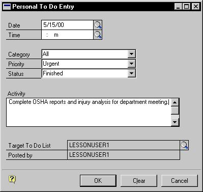CHAPTER 41 DESK ACCESSORIES 2. Choose Add New Entry to open the Personal To Do Entry window. 3. Enter or select a date and a time for the entry. 4. Select a category for the entry. 5.
