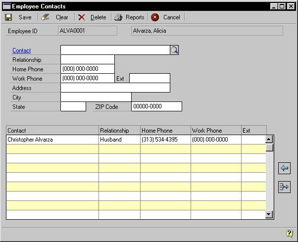 CHAPTER 6 EMPLOYEE RECORDS 4. Choose Contacts to open the Employee Contacts window. 5. Enter a contact name, relationship to the employee, phone numbers and address information. 6. Choose Save or the insert icon button to add the record to the scrolling window.