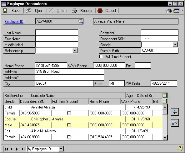 Chapter 8: Dependent Records To use the benefits feature, you must enter information about each employee s dependents.