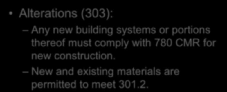 Prescriptive Compliance Method Chapter 3 Alterations (303): Any new building systems or portions
