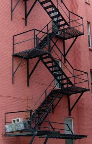 New fire escapes on existing buildings are only permitted if exterior stairs are infeasible.