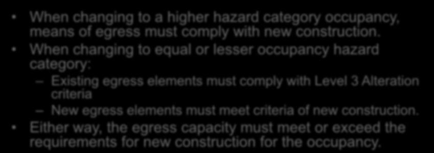 Hazard Categories Means of Egress (912.4) When changing to a higher hazard category occupancy, means of egress must comply with new construction.