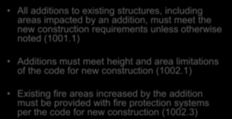 Additions Chapter 10 All additions to existing structures, including areas impacted by an addition, must meet the new construction requirements unless otherwise noted (1001.