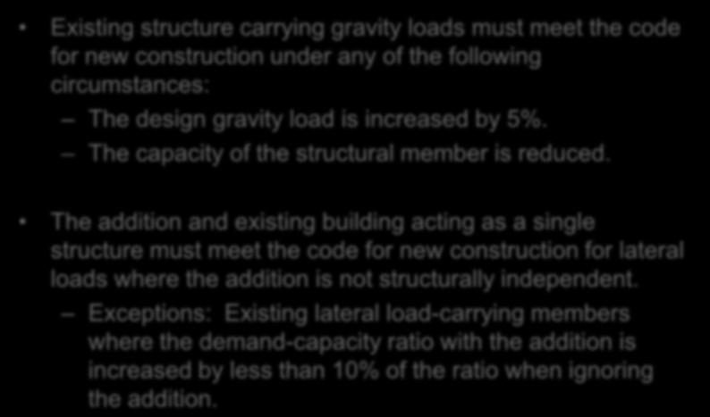 Additions Chapter 10 Existing structure carrying gravity loads must meet the code for new construction under any of the following circumstances: The design gravity load is increased by 5%.