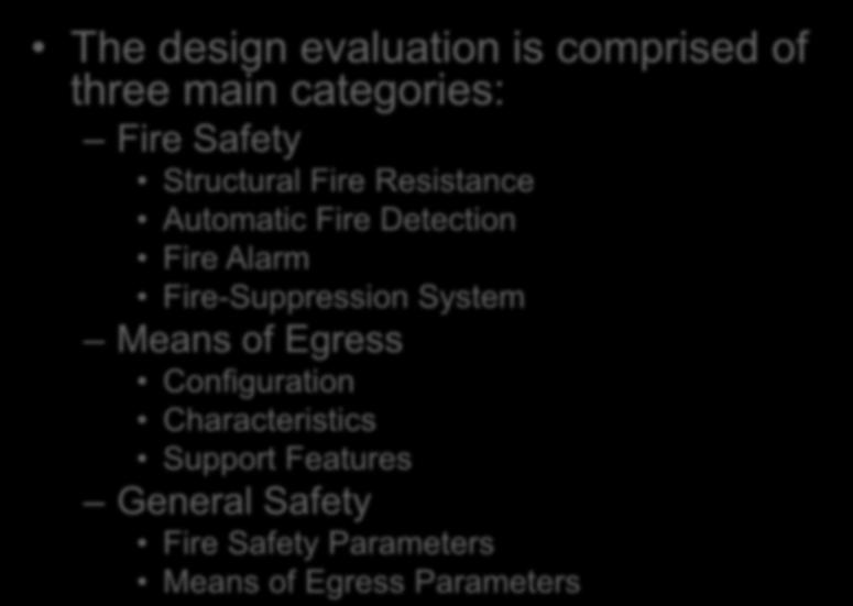 Performance Compliance Methods Chapter 13 The design evaluation is comprised of