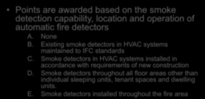 Evaluation Automatic Fire Detection Section 1301.6.8 Points are awarded based on the smoke detection capability, location and operation of automatic fire detectors A. None B.