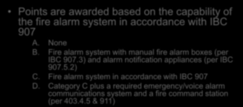 Evaluation Fire Alarm Systems Section 1301.6.9 Points are awarded based on the capability of the fire alarm system in accordance with IBC 907 A. None B.