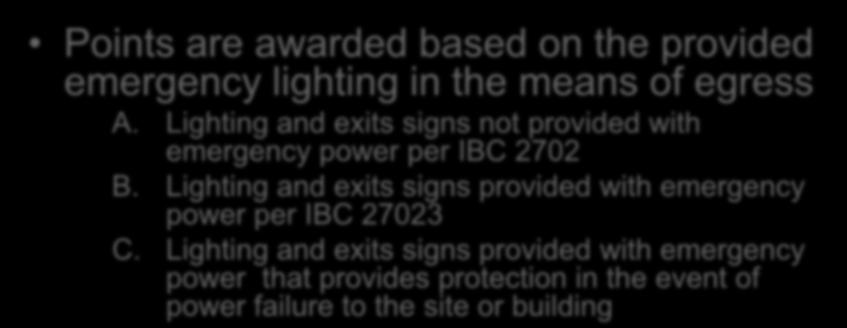 Evaluation Emergency Lighting Section 1301.6.