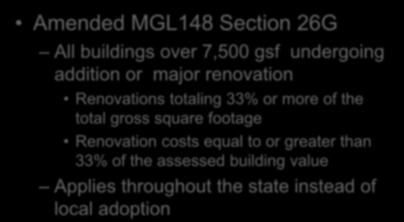Sprinklers in Existing Buildings Amended MGL148 Section 26G All buildings over 7,500 gsf undergoing addition or major renovation Renovations totaling 33% or more