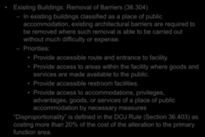 ADA: 28 CFR Part 36 Existing Buildings: Removal of Barriers (36.