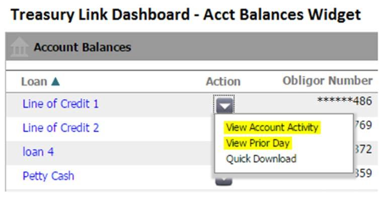 selecting from the Action dropdown menu for the account in the