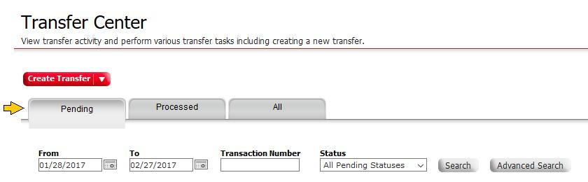 Center page can show all transfers or transfers in various states, such as